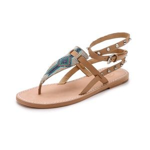 ab7e7320f ASH beaded stud neutral leather wrap PAM sandals